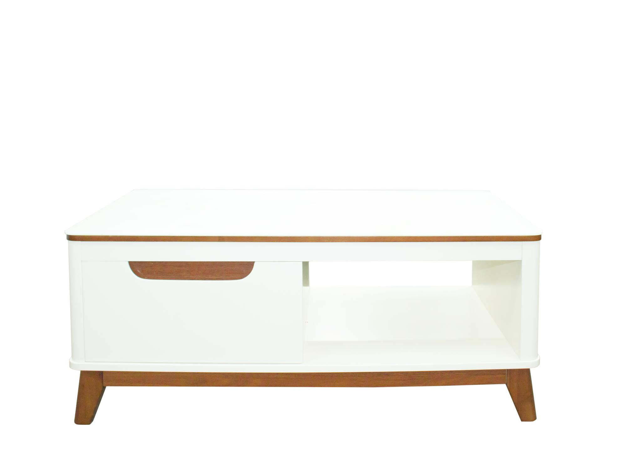 Rectangle Coffee Table - White Color - Drawer - Free Delivery - CT55