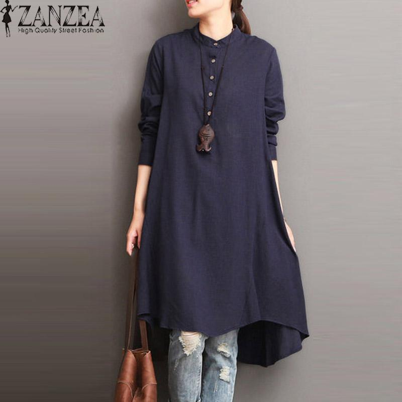 2192bb2f36 ZANZEA Fashion Cotton Linen Kaftan Round Neck Long Sleeve Mid-Calf Dress  Buttons Asymmetric Hem