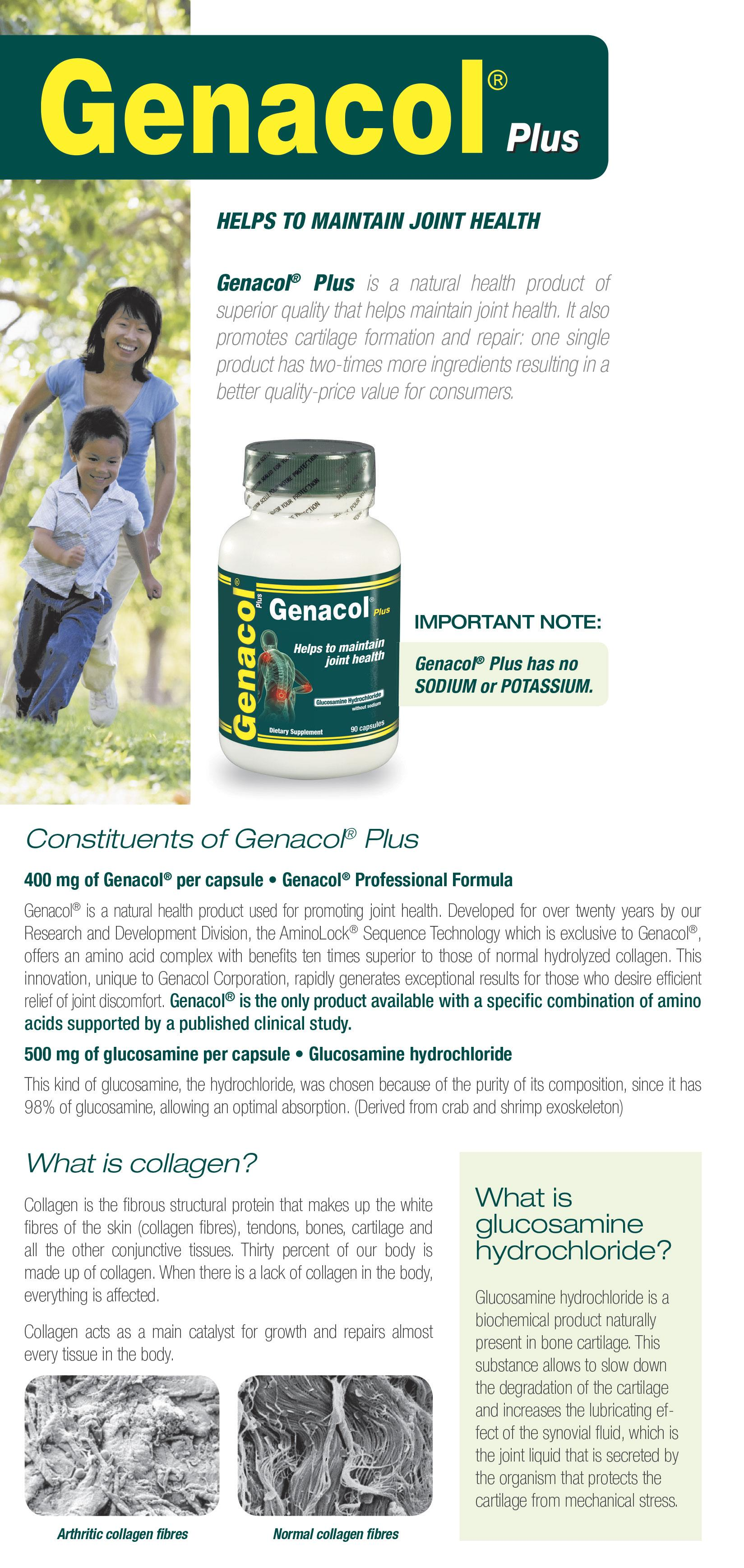 Genacol Plus 90 caps x 3 Bottles ( 3 Months Supply / 2-in-1 Formula with  Genacol Collagen and Glucosamine HCL for Quick Relief of Joint Pain & Knee