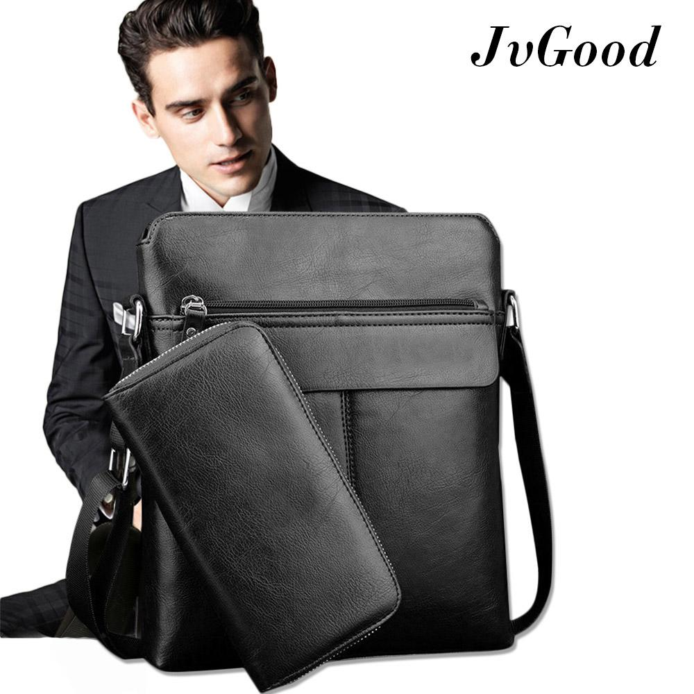 Cheap Jvgood Pu Leather Mens Shoulder Bags Crossbody Bag Messenger Bag Big Tote Male Bags With Wallet