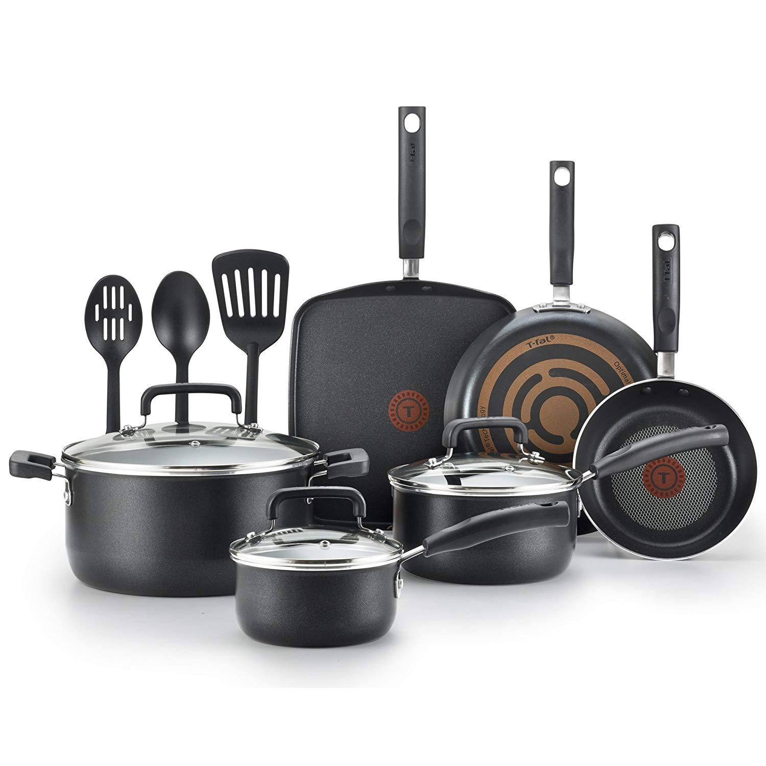 T-Fal Signature Nonstick Expert Thermo-Spot Heat Indicator Dishwasher Safe Cookware Set, 12-Piece, Black By Ria Electrostore.