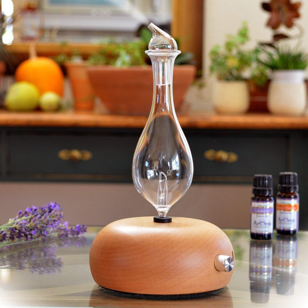 Taiwan Craft Essential Oil Cold Spray-Negative Ion Nebulizing Diffuser Cold Spray Instrument Aroma Diffuser Ultrasonic Aroma Diffuser Solid Wood Base Household