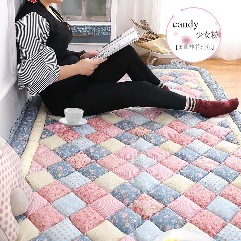 Korean Style South Korea Cotton Pure Cotton Pastoral Patchwork Household Rug Bedroom Wall-to-Wall Bedside Crawl Pad Tatami Mat