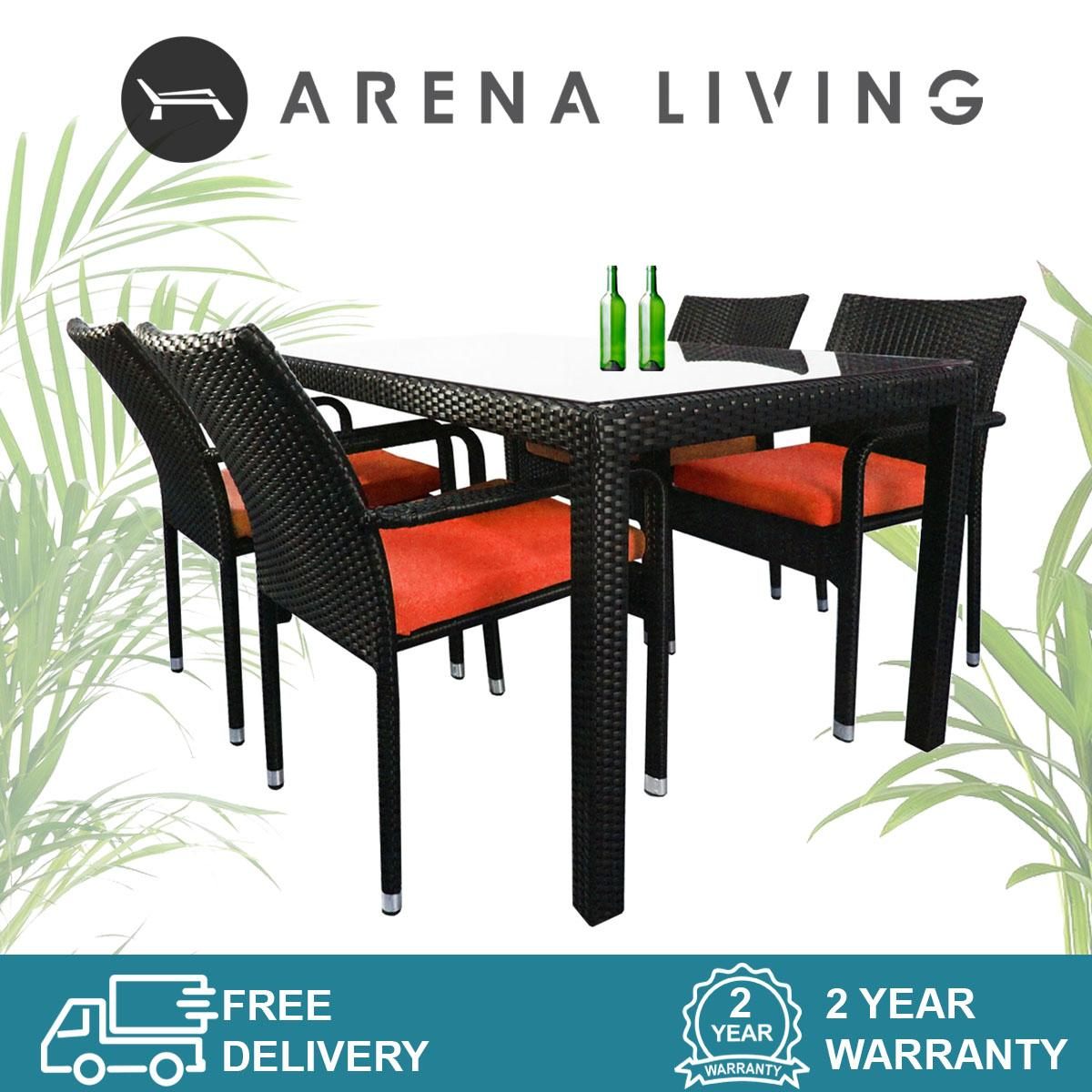 Boulevard 4 Chair Dining Set Orange Cushion, Outdoor Furniture by Arena Living™
