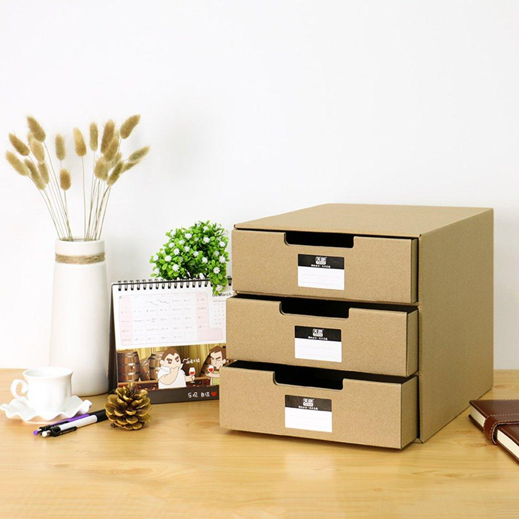 LALOVE TIANSE TS-1503 Multi-Layers Kraft Paper Files Documents Cabinet Documents Box wood color
