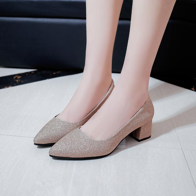 1ff70b8d2dd 2017 Spring New Style Sexy Silver Pointed High Heel Shoes Chunky Heel  Sequin Shallow Mouth fang