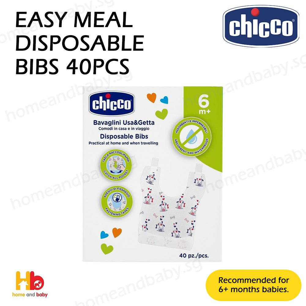 Chicco Easy Meal Disposable Bibs, 40pcs By Home And Baby.