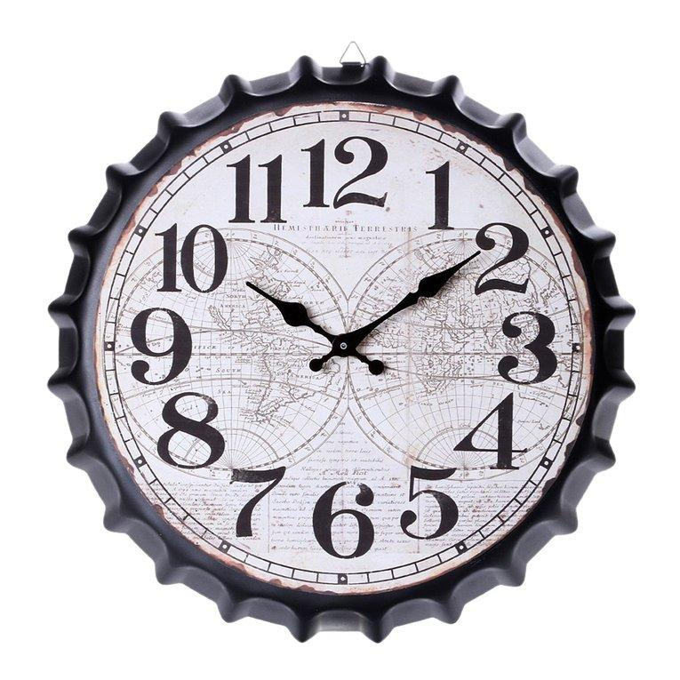 OSMAN Classic 34cm Beer Bottle Cap Wall Clock Vintage Bar Home Coffee Shop Decor 3#