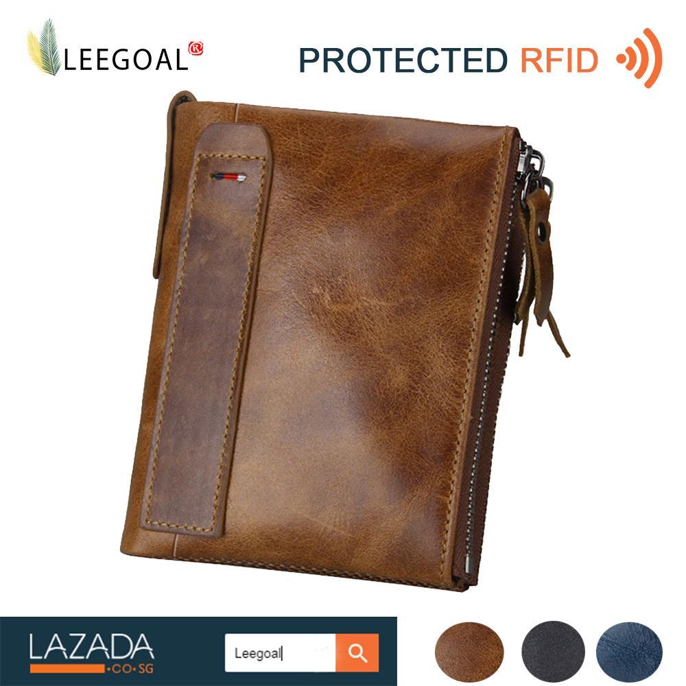 Leegoal Men Rfid Blocking Wallet Genuine Leather Double Zipper Bifold Wallet Coin Card Holder Deep Brown Intl Coupon Code