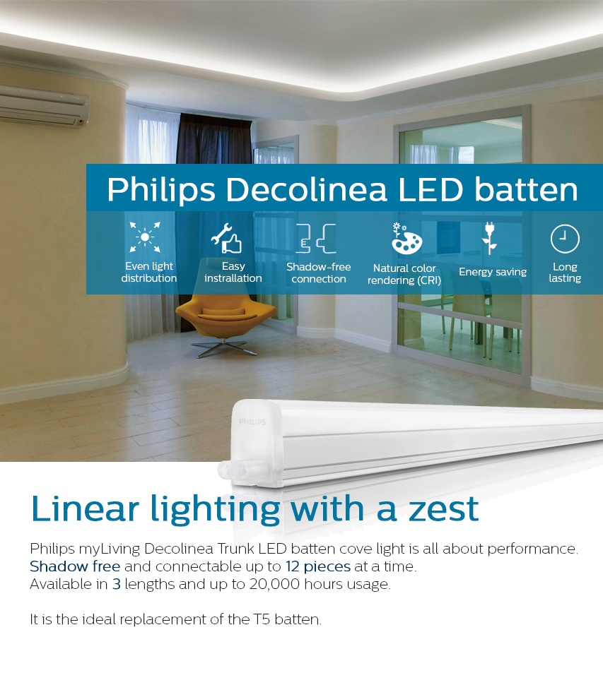 Philips 31085 Trunkable Linea Led Batten Wall Light Cove 90cm 9w 750lm 3000k Warm White Yellow