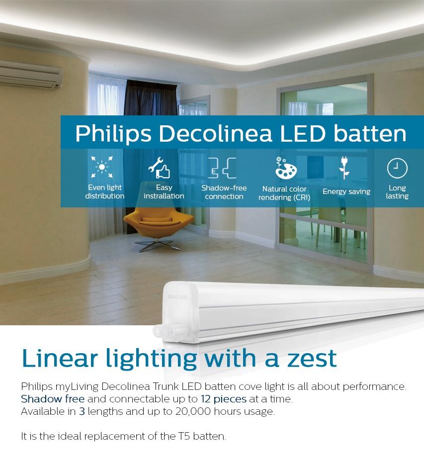Philips 31085 Trunkable Linea LED Batten Wall Light/Cove Light 90cm  (9W/750lm) 3000K Warm White (yellow light)