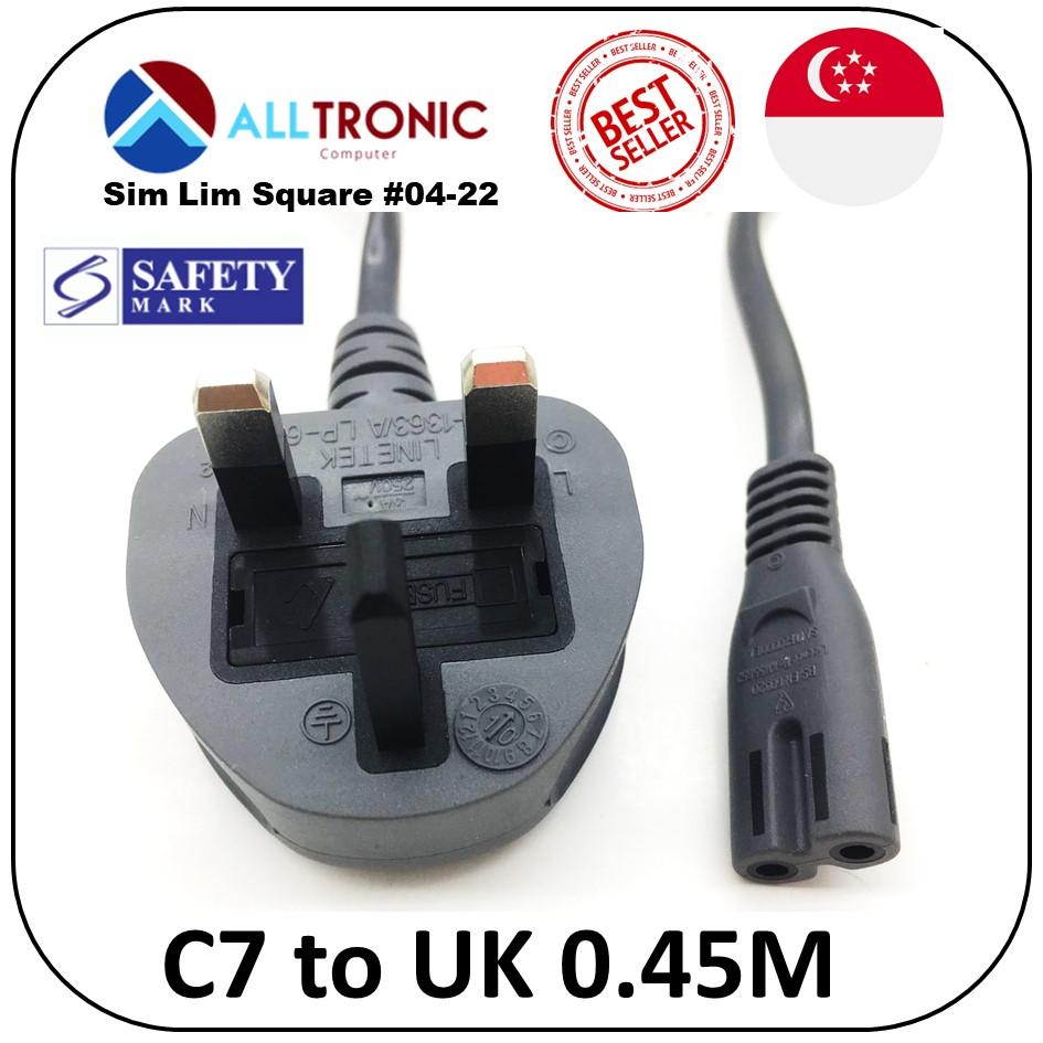 Power Cable C7 to UK 3pin 0.45Meter Figure 8 Power Cord with Safety Mark