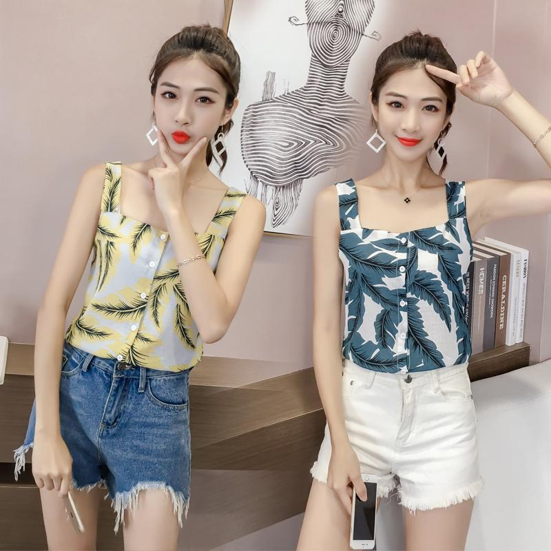 2018 Female Summer Chic Camisole Hipster Tops Outer Wear Floral Print Sleeveless T-Shirt Underwear Chiffon Base Shirt By Taobao Collection.
