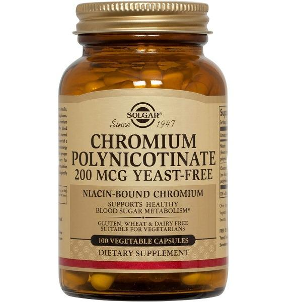Solgar Chromium Polynicotinate 200 Mcg Yeast Free 100 Vegetable Capsules Vegetarian Reviews