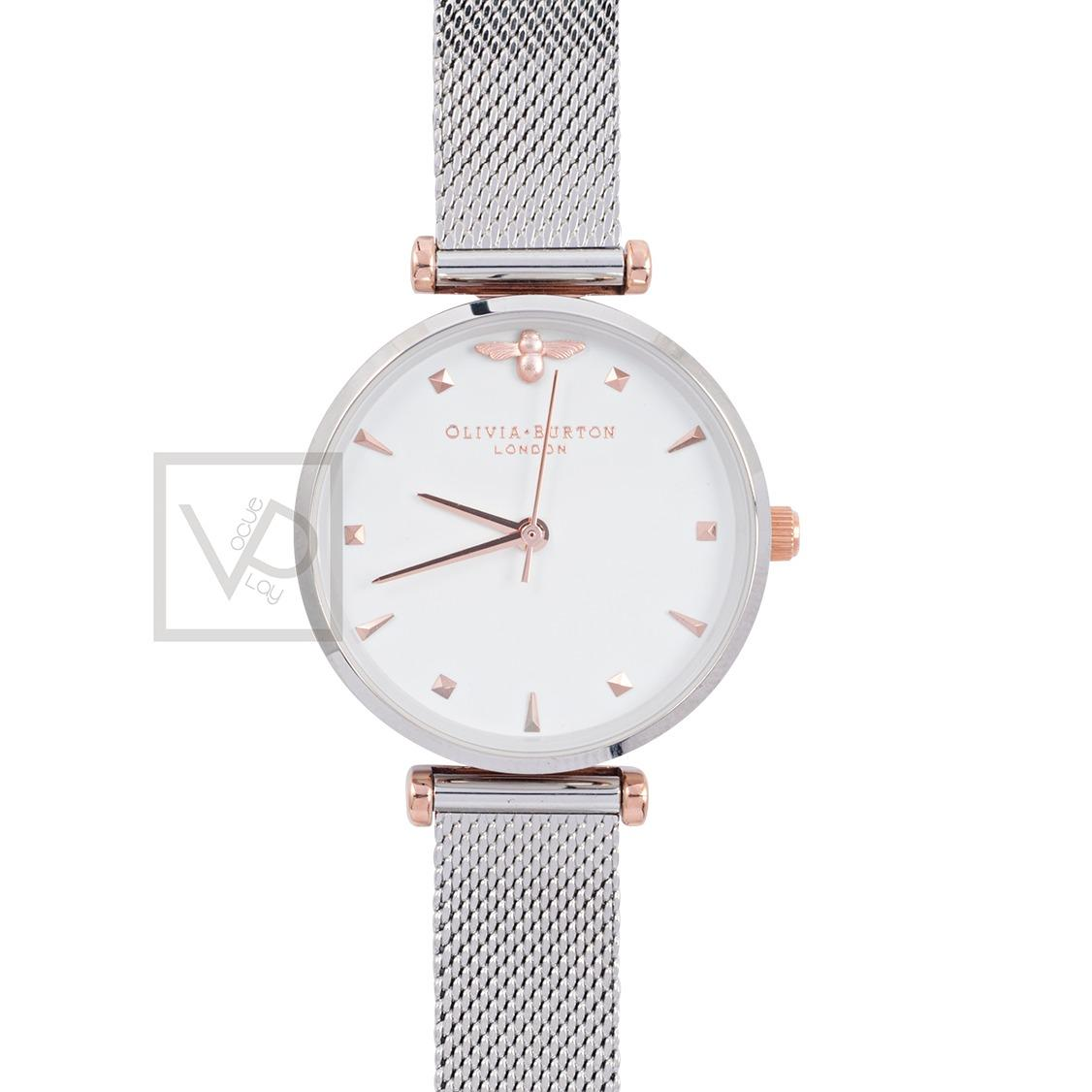 Olivia Burton Ladies Queen Bee Rose Gold Silver Mesh Ob16Am140 New Coupon Code