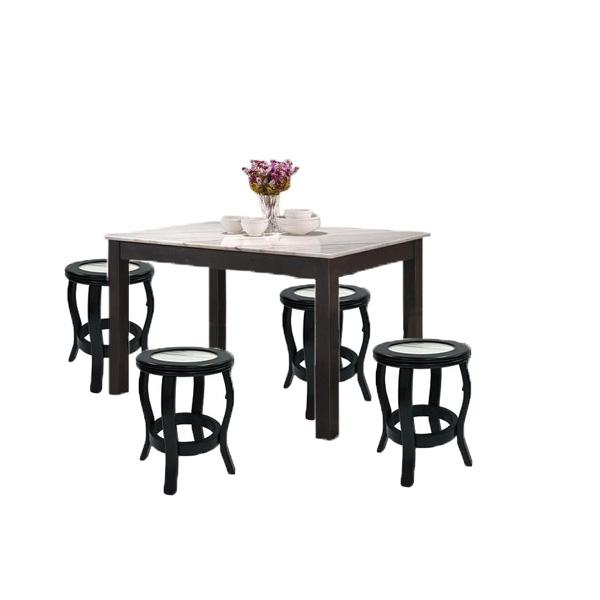 [A-STAR] (1+4) RECTANGLE MARBLE TOP DINING TABLE AND CHAIR STOOL SET