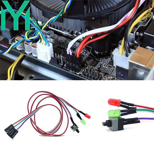 Universal ATX Computer Motherboard Power Switch Cable Line With LED Light