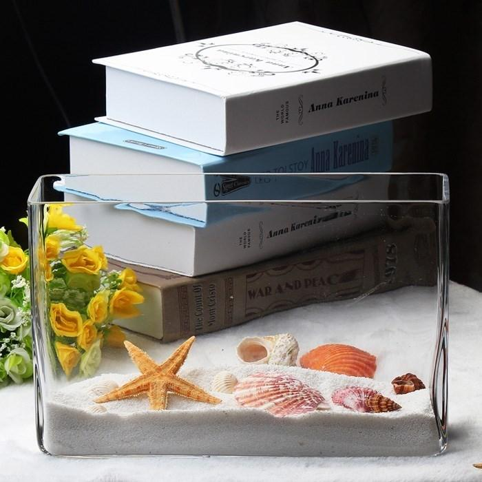 2018 New Style Decorations Simplicity Fish Tank Living Room Small Desktop Glass Mini Rectangular Transparent Flowers