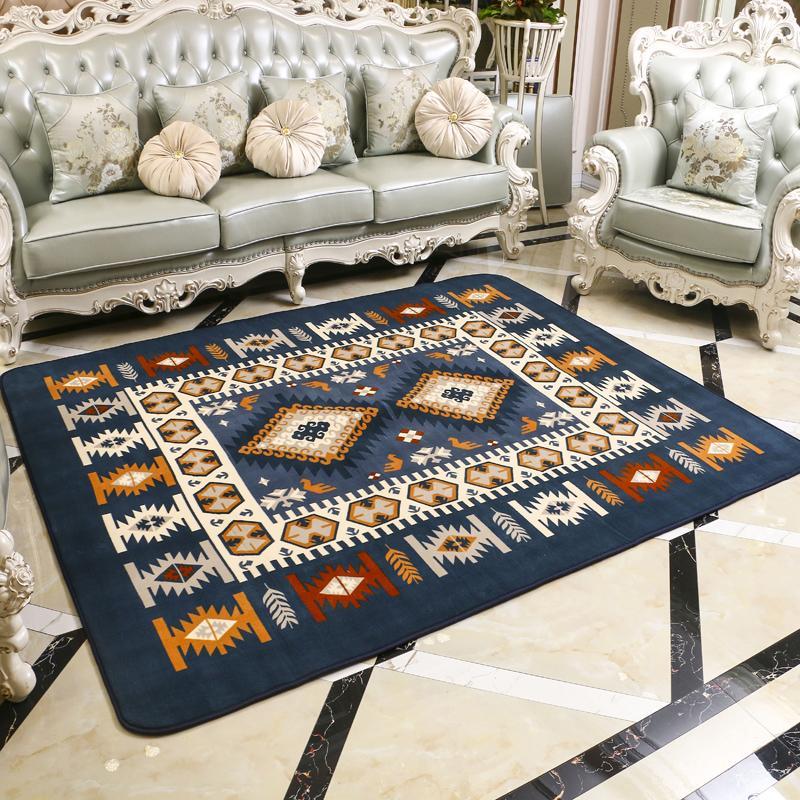 European Style Living Room Mediterranean Rug Living Room Teapoy Table Tatami Coral Velvet Bedside Blanket Can Machine Wash Minimalist Modern