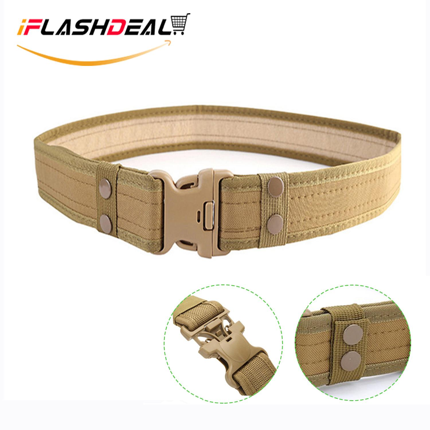 Iflashdeal Tactical Combat Belt Utility Gear Adjustable Heavy Duty Police Military Equipment With Side Release Buckle By Iflashdeal.