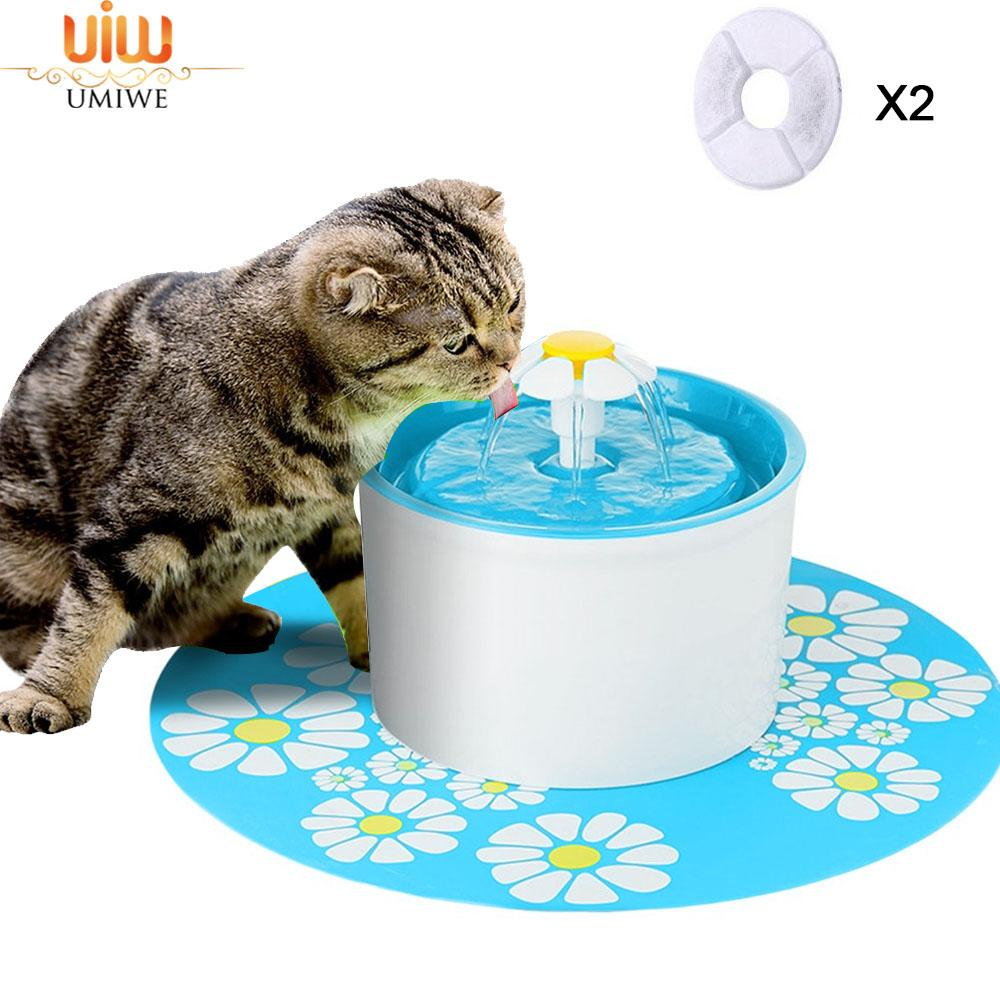 Umiwe 1.6l Cat Water Fountain With 2 Filters, 1 Flowers And 1 Silicone Mat, Pet Drinking Fountain For Dogs And Cats - Intl By Umiwe.