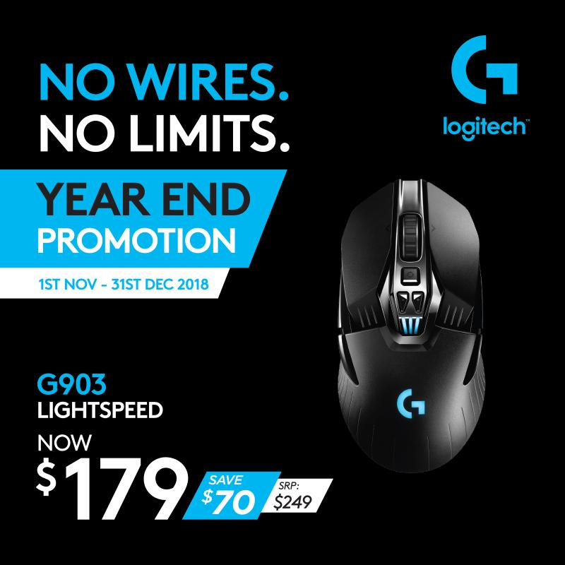 Logitech G903 Lightspeed Wireless Gaming Mouse Supports Logitech G Powerplay Charging System #GamingYearEnd2018Promo