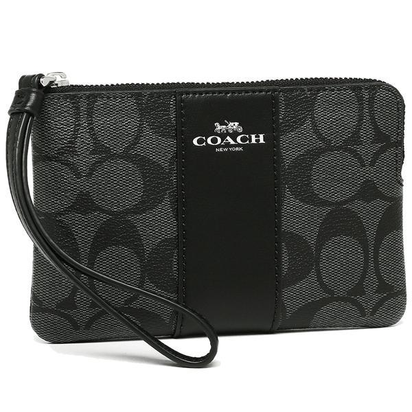 Coach Corner Zip Wristlet In Signature Coated Canvas With Leather Stripe with Gift Box