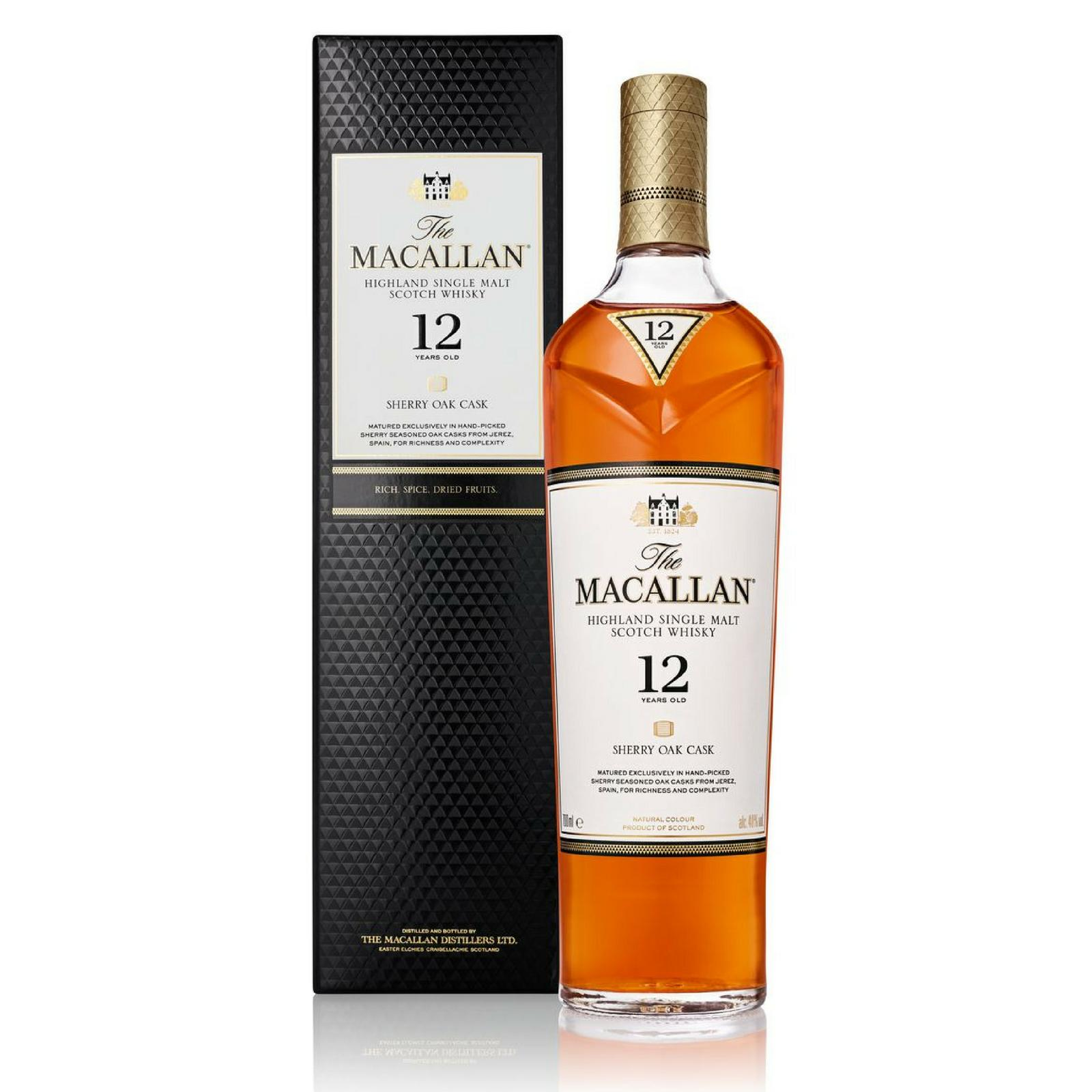 The Macallan 12 Years Old Sherry Oak Highland Single Malt Scotch Whisky 700ml By C&c Drinks Shop - Three Kraters.