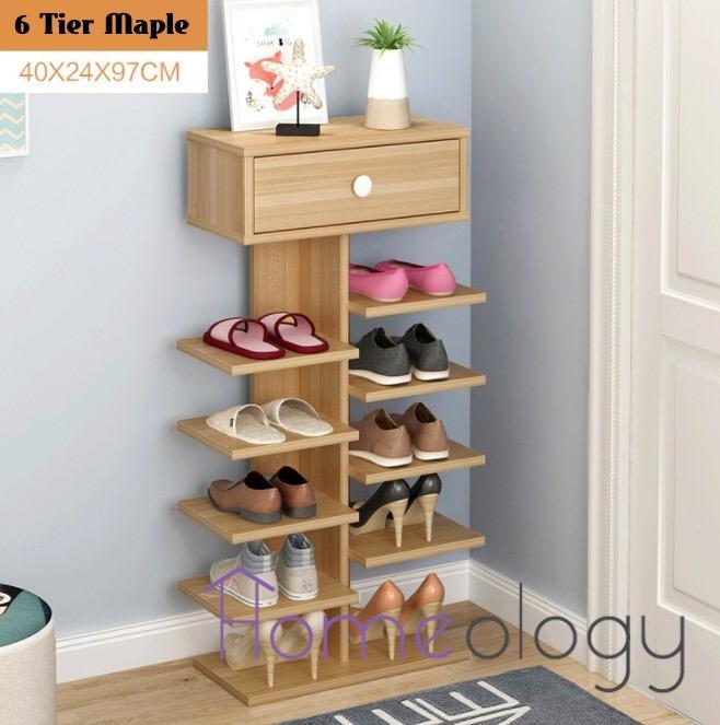 6 Tier Wooden Shoe Rack Household Shoes Cabinet Organizer Shelf Storage