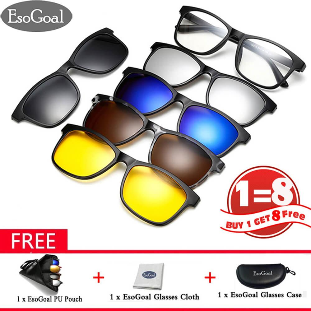 Esogoal Magnetic Sunglasses Clip On Glasses Unisex Polarized Lenses Retro Frame With Set Of 5 Lenses - Intl By Esogoal.