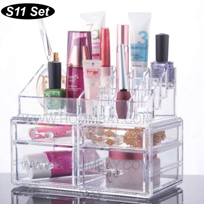 SS11 I Clear Acrylic Transparent Make Up Makeup Cosmetic Jewellery Jewelry Organiser Organizer Drawer Storage Box Holder I Large I Stackable