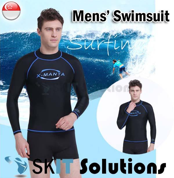 Adult Swimsuit Top For Men ★ Ls-610m ★ Long Sleeve Swimming Costume Wear Suit Diving By Sk I.t. Solutions.