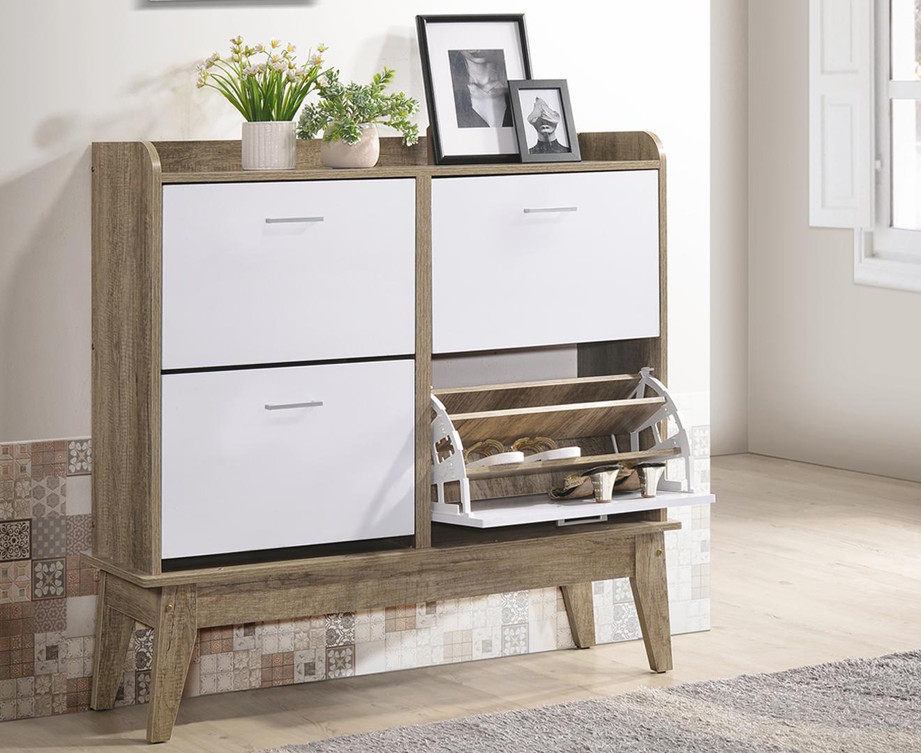 Scandinavian Shoe Cabinet w/ 4 Compartment Drawers Rack Storage Entryway Organizer ⭐E-LIVING Furniture