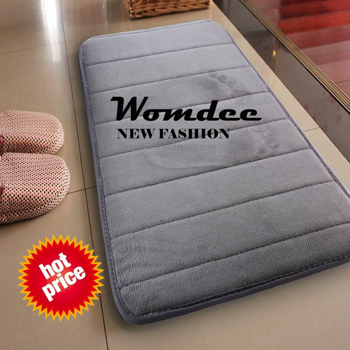 Womdee Water Absorbent Non Skid Memory Foam Bath Spa Rug Shower Mat Carpet (gray) - Intl By Womdee.