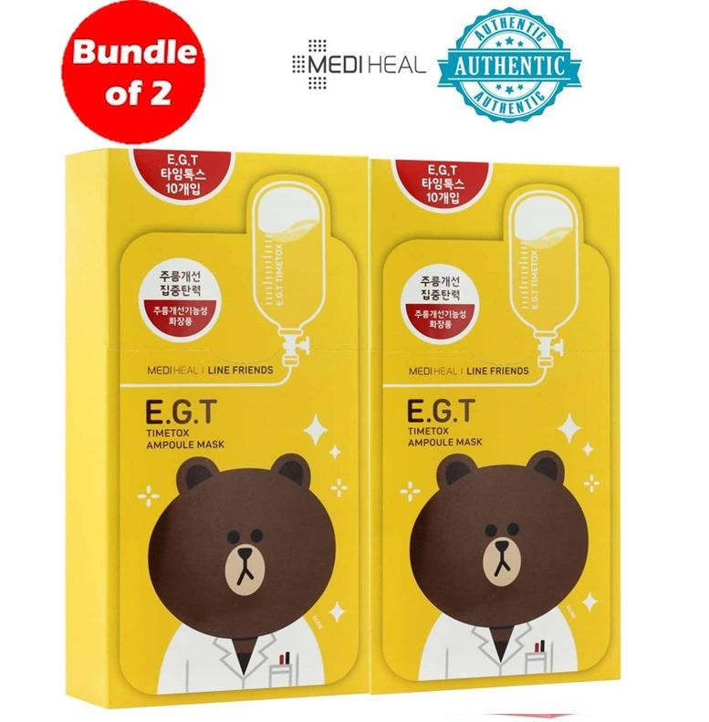 [Clearance] Bundle of 2 (20Pcs) Mediheal Line Friend E.G.T Timetox Ampoule Mask