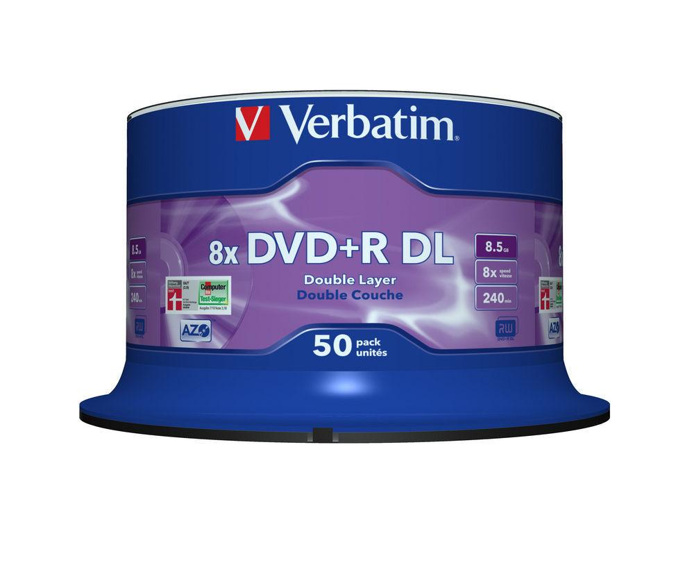 Verbatim DVD+R Double Layer AZO 50pcs per cake box 8.5gb 8x 240min