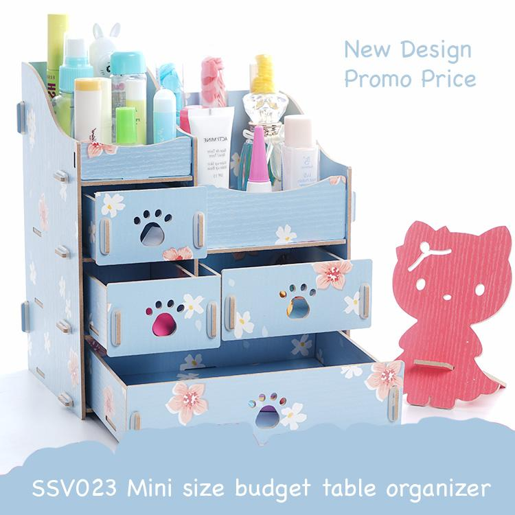 DIY table organizer wood Acrylic transparent cosmetics mirror storage box drawer shelf office desk organiser SSV029 SSV023