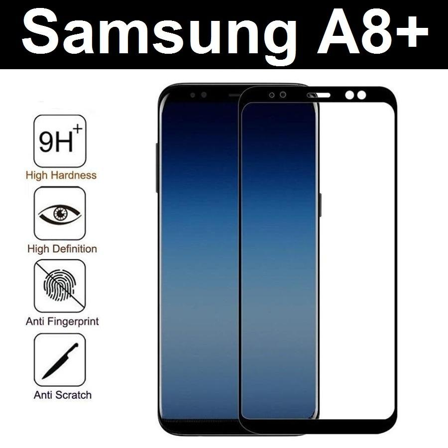 Purchase Black Samsung Galaxy A8 A8 Plus 2018 Full Coverage Tempered Glass Screen Protector