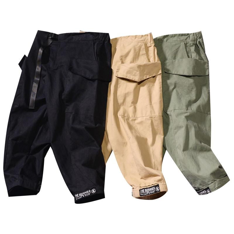 db0fa4085ff Japanese-style Harajuku Street Pure Cotton Cargo Trousers Capri Pants Loose  Big Pocket Casual Pants