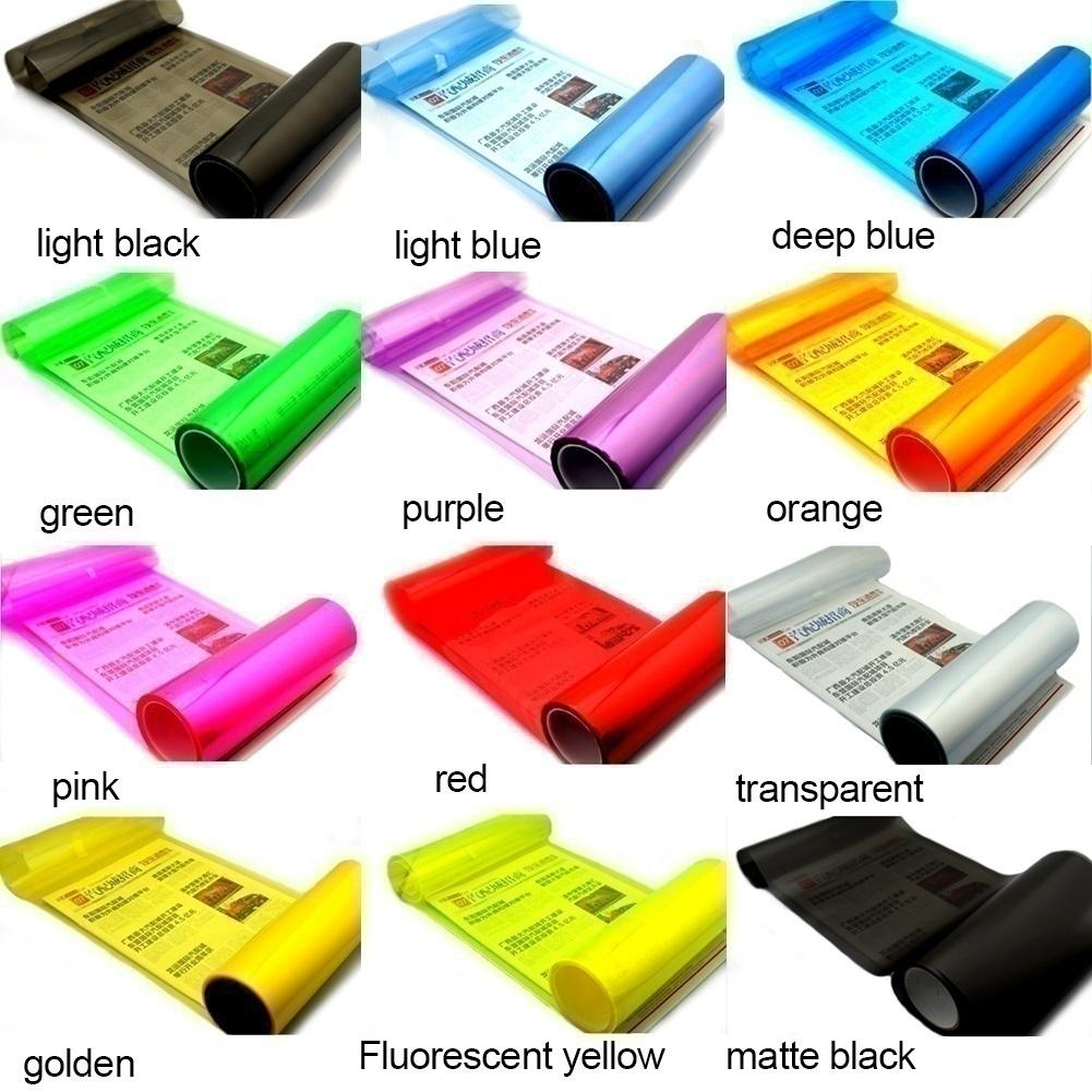 Redcolourful 60cm*30cm Auto Car Light Headlight Taillight Film Sticker Transparent Film Car Light Film Cover Color:red By Redcolourful.
