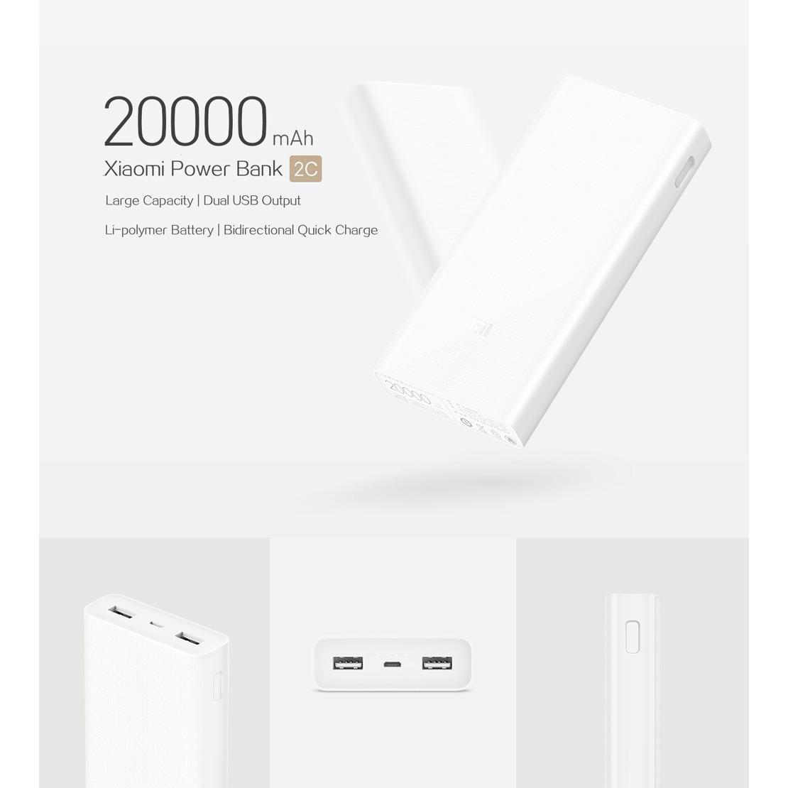 Wholesale Xiaomi 20000Mah 2C Powerbank White
