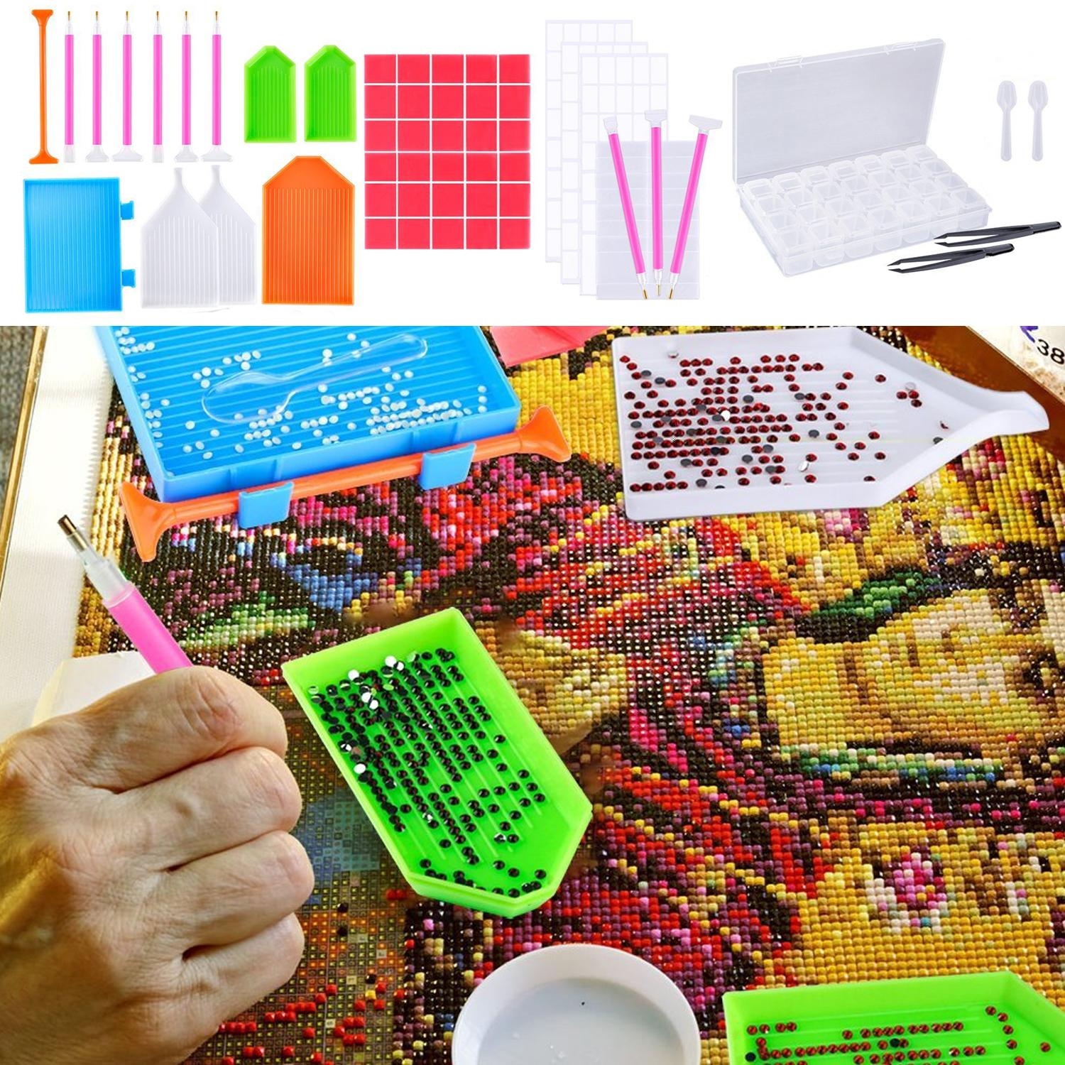 56pcs Diy Diamond Painting Embroidery Tools Kit Including Sticky Pen Glue Spoon Plastic Plates Embroidery Box Tweezer Sticky Paper By Elek.