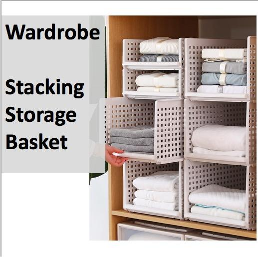 [1 Piece] Stackable Basket Stacking Wardrobe Organizer Storage Organization  Space Saver