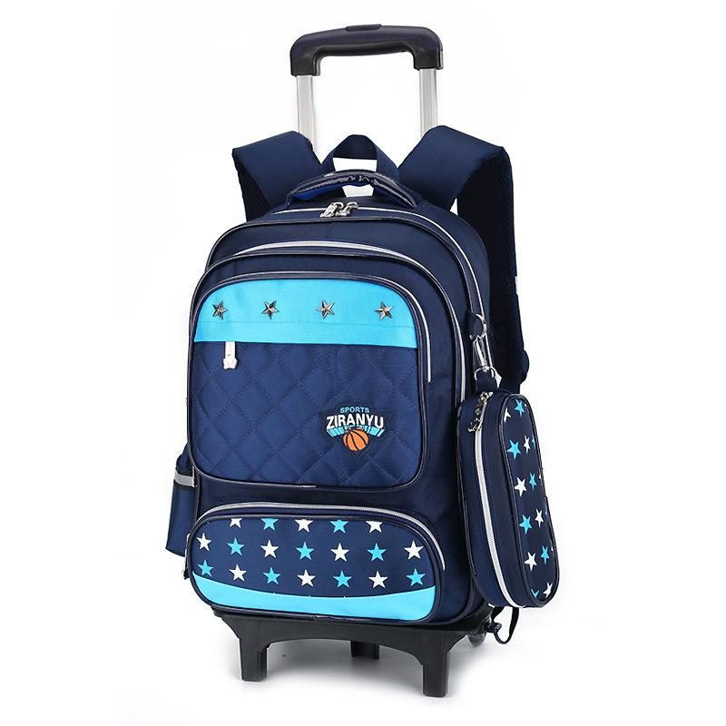 Student Trolley School Bag chilrens Removable Backpack MWT3