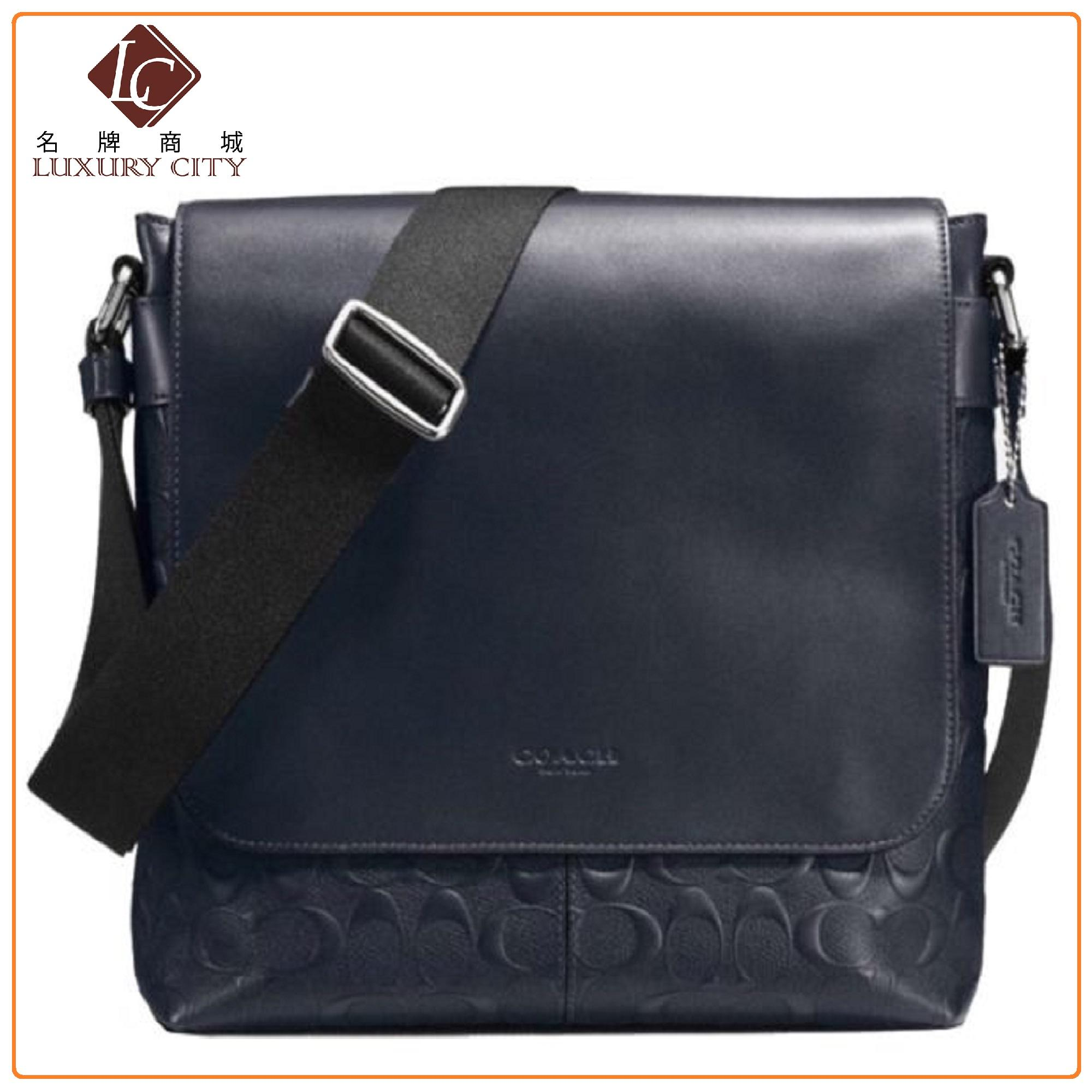 abc5a938b5 COACH CHARLES SMALL MESSENGER IN SIGNATURE CROSSGRAIN LEATHER F72220 (BLUE)