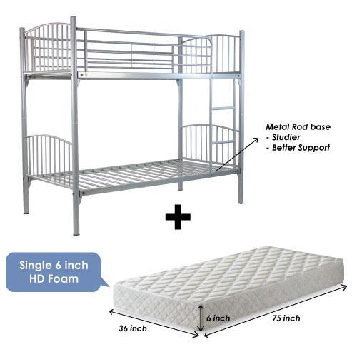 [A-STAR]  Silver Metal Double Decker bed + 6 inch HD Foam