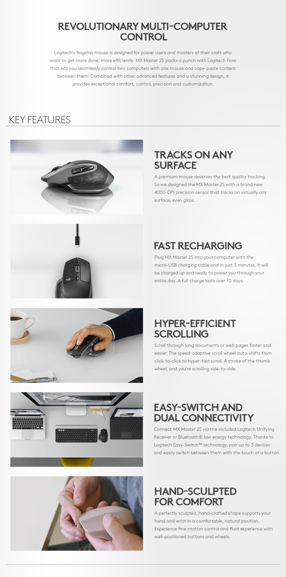 [FREE GIFT] Logitech MX Master 2S Wireless Bluetooth Mouse 2 S Graphite  Wire less Multi Device Mouse 910-005142 910005142 100 % Original Local
