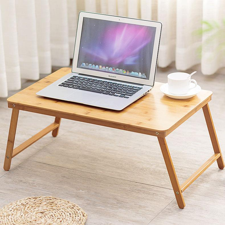 Norzy Foldable Bamboo Bed Side Table Laptop Notebook Table Kids Study Reading Desk M Size 60cm