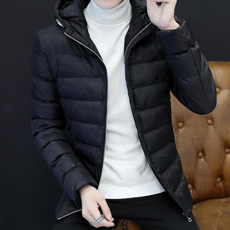 Winter Cotton-padded Clothes Men's Wear Korean Style Slim Fit Youth Coat Leisure Stand Collar