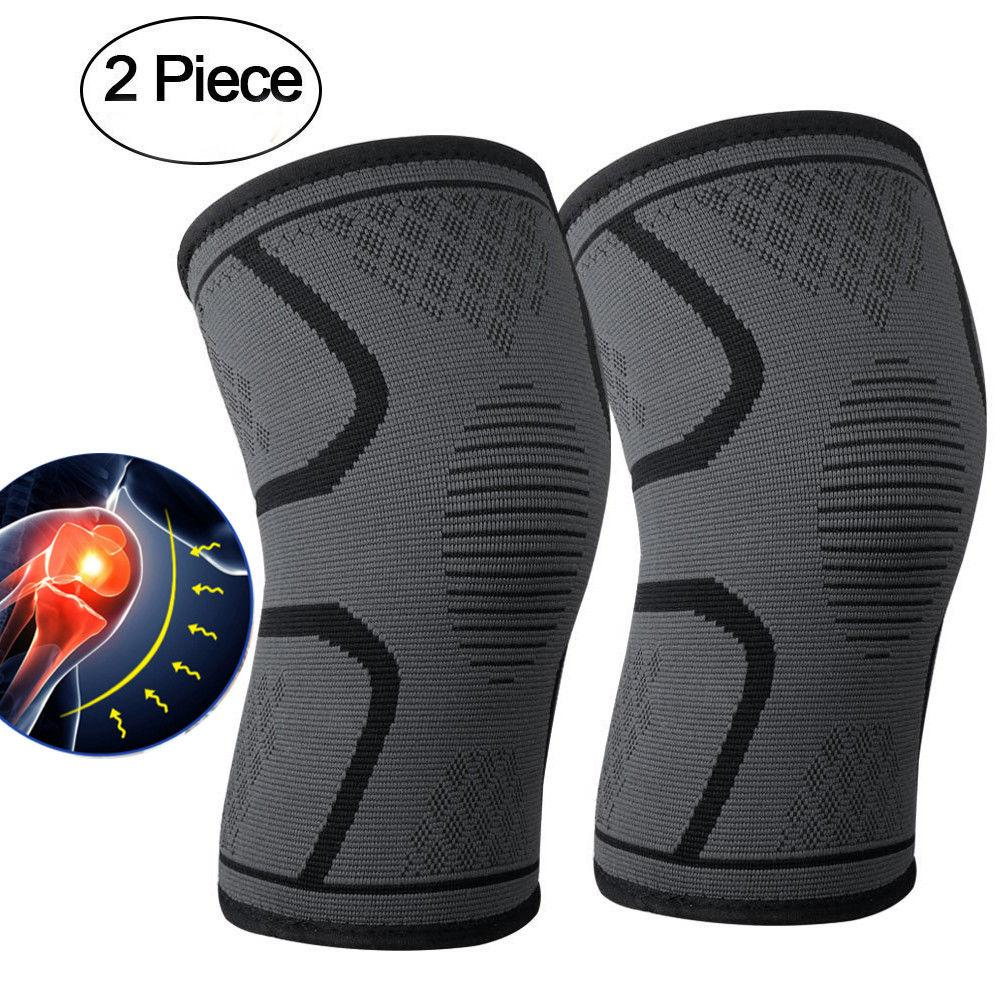 2PCS Compression Knee Support Brace Breathable Anti Slip Comfortable Arthritis Pain Relief Elastic Knee Support Gym
